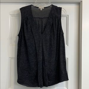 Pleated heathered grey sleeveless blouse